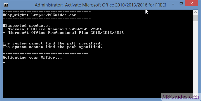 microsoft office 10 product activation failed