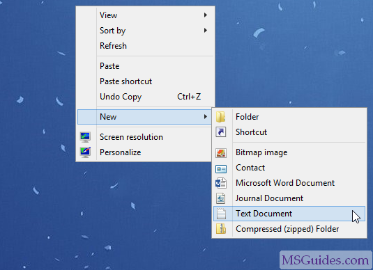 create a new text document