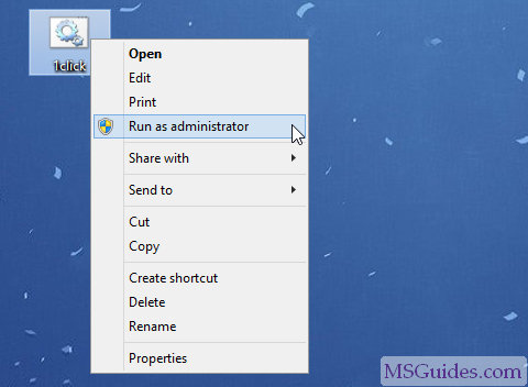 Execute the batch script in admin mode