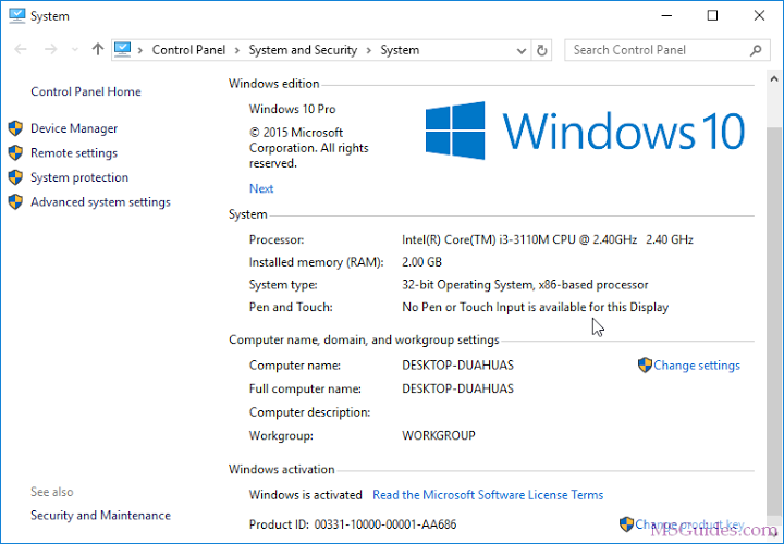 check your windows activation status on system control panel