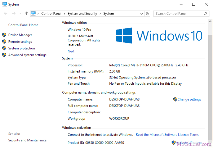 activation windows 10 without key