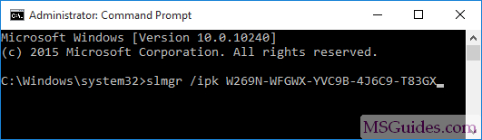 "install windows 10 kms license using ""ipk"" command"