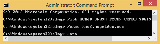 "activate your windows using ""ato"" command"