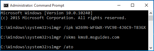 "activate your windows 10 using ""ato"" command"