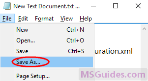 save this text file as a installation file