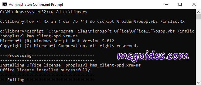 Install Office voulme licenses