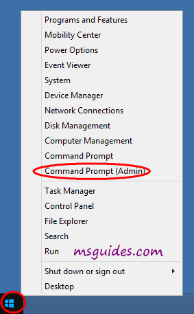 open command prompt with admin rights on windows 8