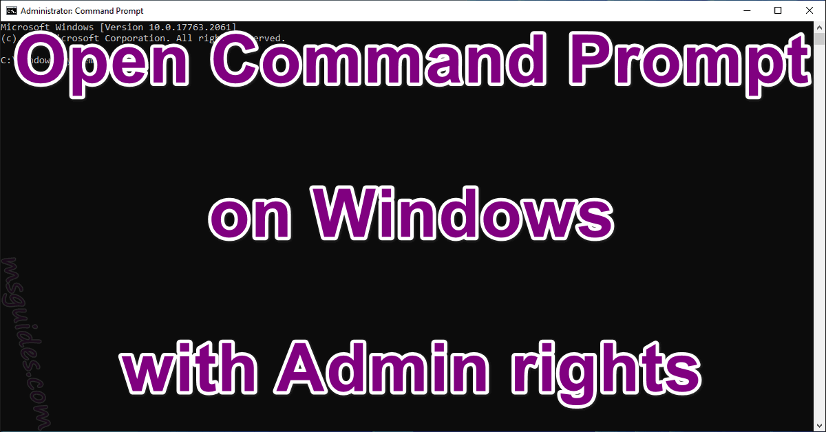 Open command prompt on windows with admin rights