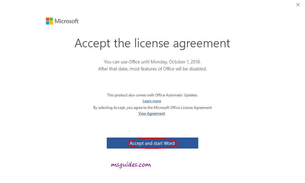 Accept Microsoft license agreement