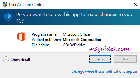 allow office 2019 installer