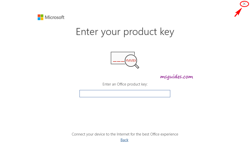 enter office 2019 product key
