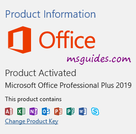 Office 2019 product activated