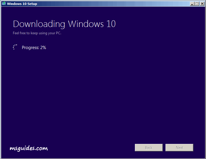 Getting latest version of Windows 10 progress