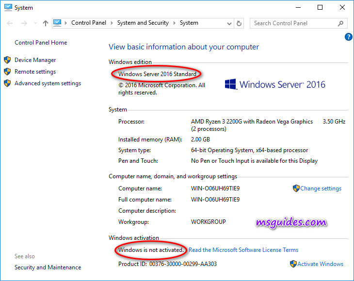 Here is Windows Server status when it is not activated