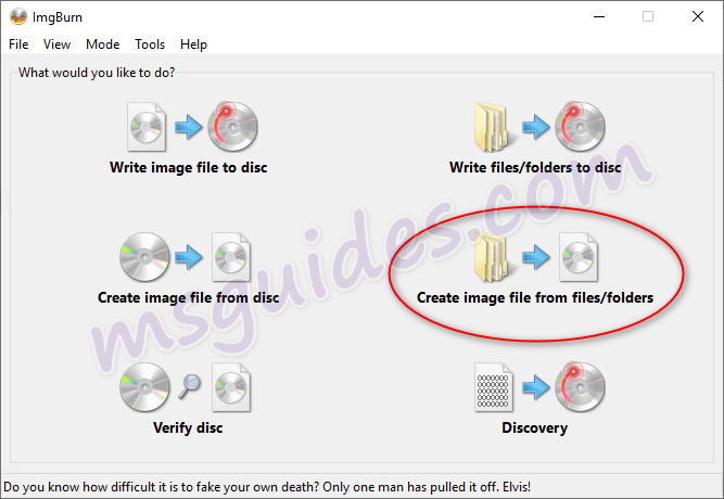 create image file from files and folders