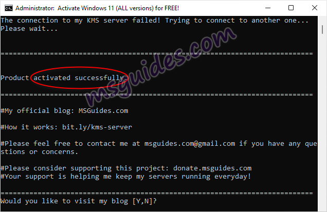 windows is activated successfully using batch script